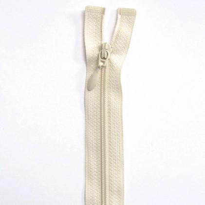 Fermeture Eclair nylon séparable 25 cm  Blanc cassé