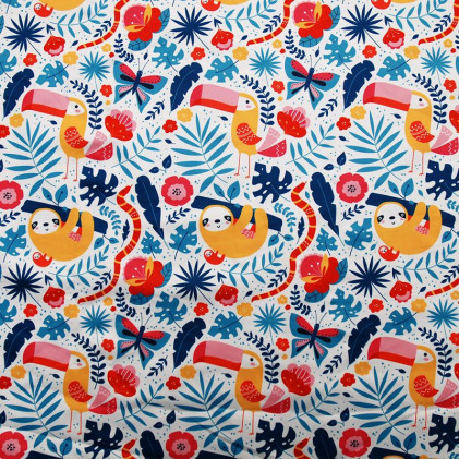 Tissu Pul PANDALOVEFABRICS  imprimé Jungle Cool Bleu / Jaune