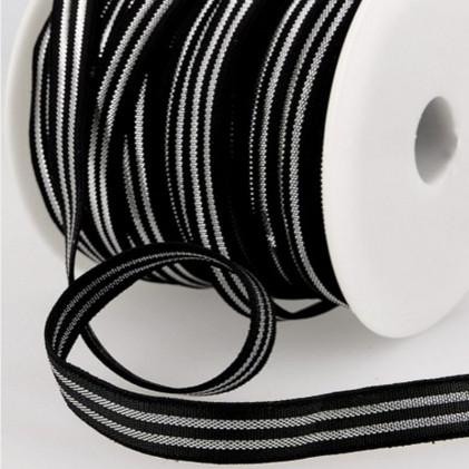 Elastique avec bandes métal Noir / Argent