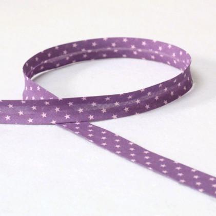 Biais replié Froufou Etoiles 20mm Violet