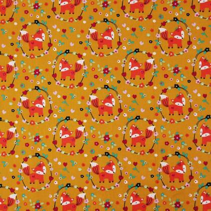 Tissu coton Oeko-Tex imprimé Renardeaux Jaune moutarde