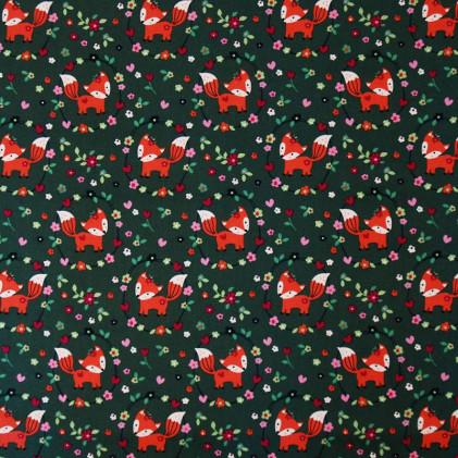 Tissu coton Oeko-Tex imprimé Renardeaux Vert