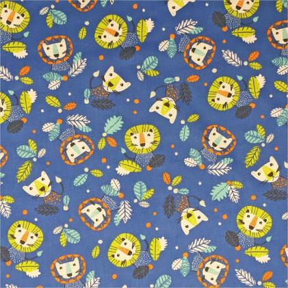 Tissu coton imprimé Aslan Bleu