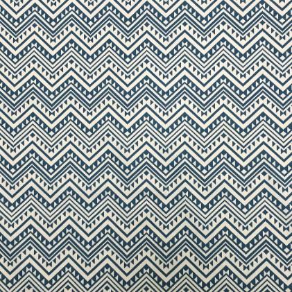 Tissu coton imprimé Nazil Beige / Bleu