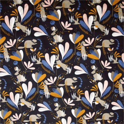 Tissu coton imprimé Oeko-Tex Lorena Bleu nuit