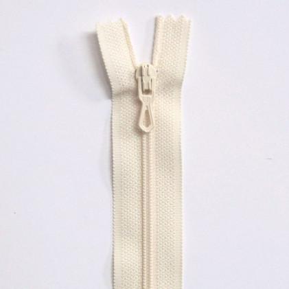 Fermeture Eclair nylon non séparable 12 cm  Blanc cassé