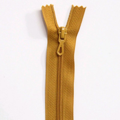 Fermeture Eclair nylon non séparable 12 cm  Moutarde
