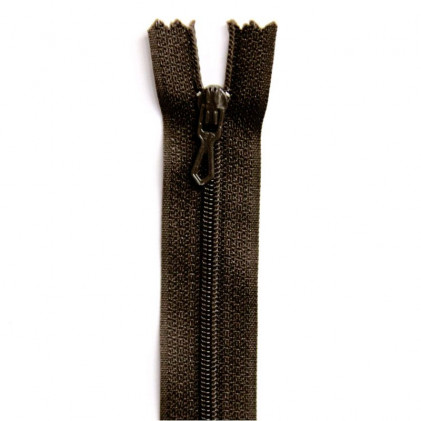 Fermeture Eclair nylon non séparable 12 cm  Marron