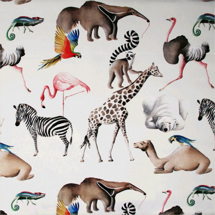 Tissu imprimé THEVENON Tous au Zoo Blanc