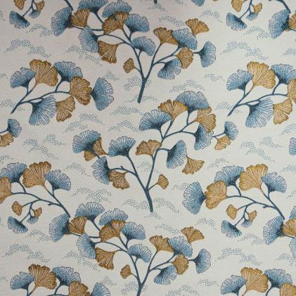 Tissu jacquard lurex Gingko Blanc / Bleu