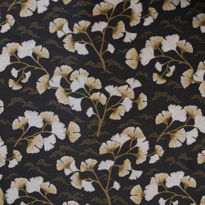 Tissu jacquard lurex Gingko Noir / Blanc