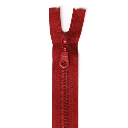 Fermeture Eclair plastique séparable 25 cm  Rouge