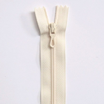 Fermeture Eclair nylon non séparable 55 cm  Blanc cassé