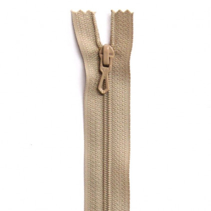Fermeture Eclair nylon non séparable 55 cm  Beige