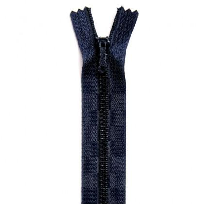 Fermeture Eclair métallique spéciale pantalon non séparable 18 cm    Bleu marine