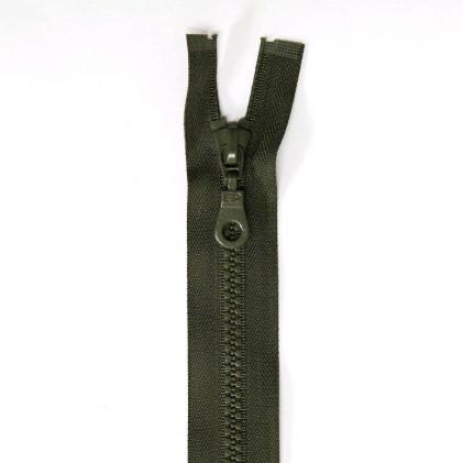 Fermeture Eclair plastique séparable 60 cm    Vert kaki foncé