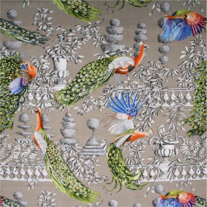 Tissu imprimé THEVENON Jardin Merveilleux Beige ficelle