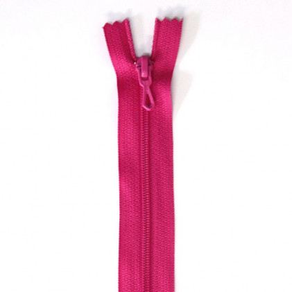 Fermeture Eclair nylon non séparable 30 cm  Rose foncé