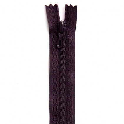 Fermeture Eclair nylon non séparable 30 cm  Violet prune