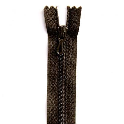Fermeture Eclair nylon non séparable 30 cm  Marron