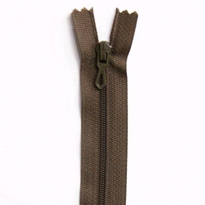 Fermeture Eclair nylon non séparable 30 cm  Tabac