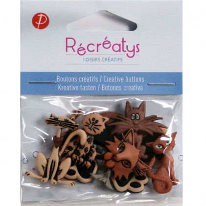 Assortiment de boutons créatifs Récréatys Marron brun
