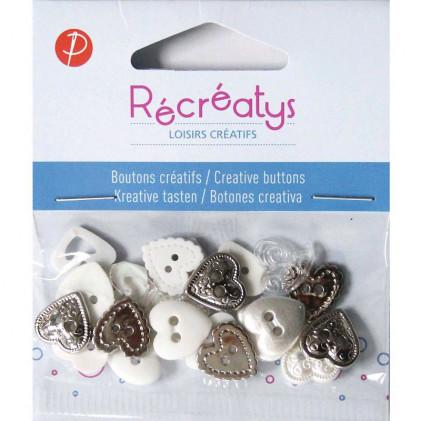 Assortiment de boutons créatifs Récréatys Blanc / Argent