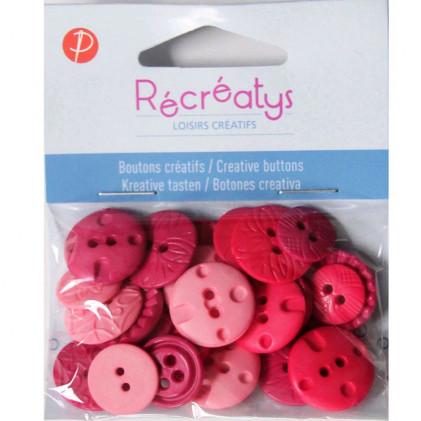 Assortiment de boutons créatifs Récréatys Rouge / Rose