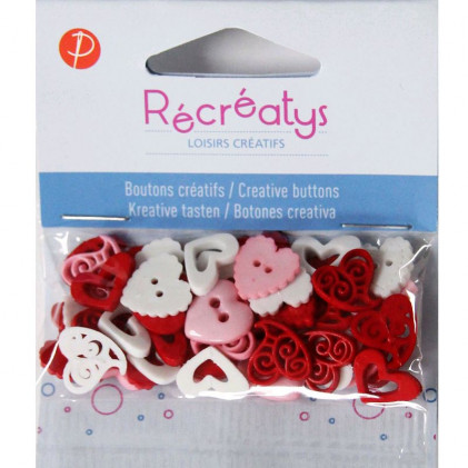 Assortiment de boutons créatifs Récréatys Blanc / Rouge
