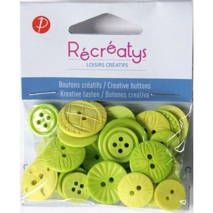 Assortiment de boutons créatifs Récréatys Vert