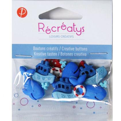 Assortiment de boutons créatifs Récréatys Bleu