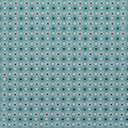 Tissu imprimé Fleurette Turquoise