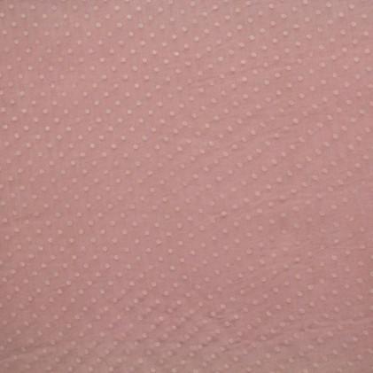 Tissu mousseline imprimé Pois Vieux rose