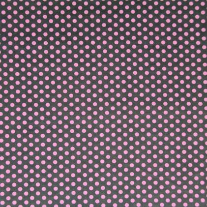 Tissu coton imprimé Pois et Etoiles Rose