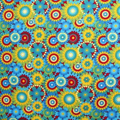 Tissu coton imprimé Multifleurs Jaune