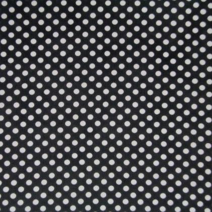 Tissu mousseline imprimée pois Noir