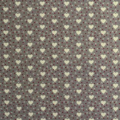 Tissu coton imprimé Coeurs Taupe