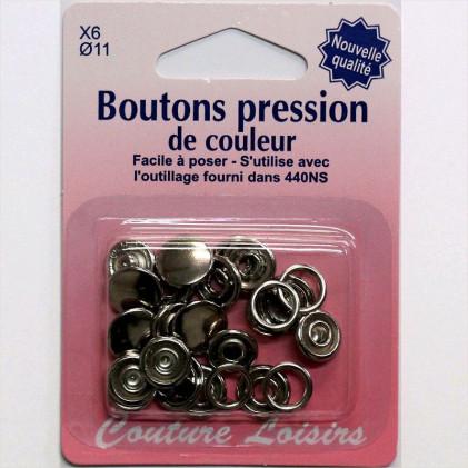 Boutons pression métal 11 mm Argent Gris argent