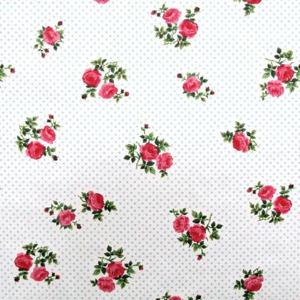 Tissu fleurs Alishaby Blanc
