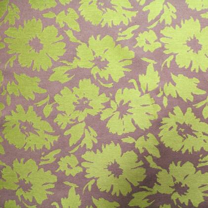 Tissu jacquard Fleurs Vert anis