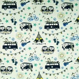 Tissu coton imprimé Peace and Love