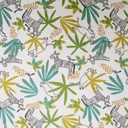 Tissu coton imprimé Mixami  Blanc / Vert