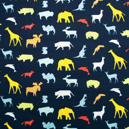 Tissu coton imprimé Wild  Bleu marine