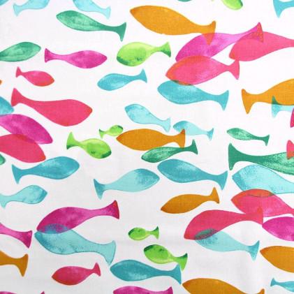 Tissu imprimé Aqua  Multicolore