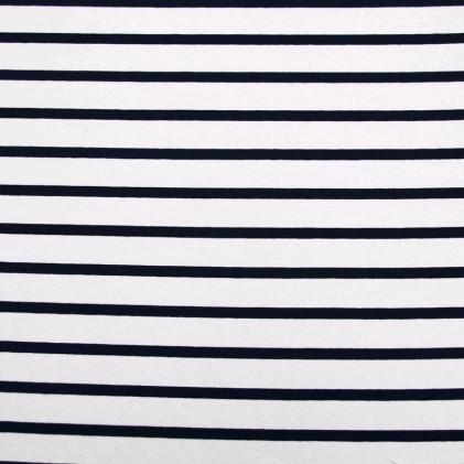 Tissu jersey Marinière    Blanc / Bleu marine