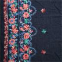 Tissu jean's brodé Floral