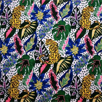 Tissu coton imprimé Oeko-Tex Mowgli Bleu