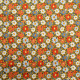 Tissu coton imprimé Camille  Orange / Blanc