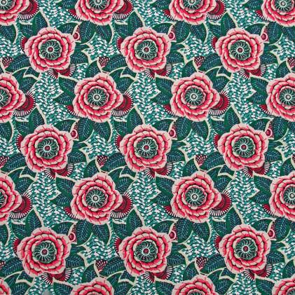Tissu coton imprimé Dahlia  Rose fuchsia / Bleu