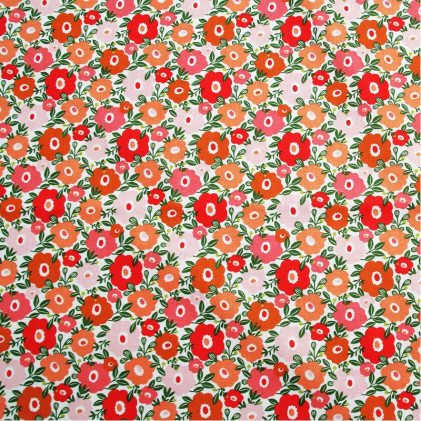 Tissu coton imprimé Camille  Rouge / Rose
